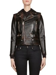 Saint Laurent Lo1 Leather Moto Jacket Black White