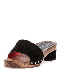 Proenza Schouler Suede One Band Clog Sandal Black Nero