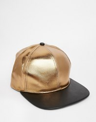 Asos Snapback Cap In Gold And Black Faux Leather Black Gold