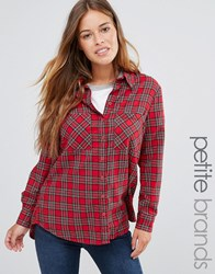 New Look Petite Tartan Check Shirt Red Pattern