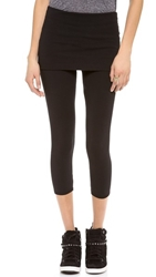 Solow Fold Over Cropped Leggings Black