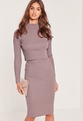 Missguided Knitted Midi Skirt Lilac Mauve
