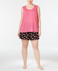 Charter Club Plus Size Tank Top And Boxer Shorts Mix It Pajama Set Only At Macy's Tropical Floral