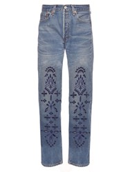 Bliss And Mischief Bandana Embroidered Straight Leg Jeans Navy