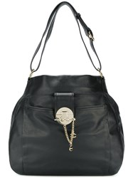 Just Cavalli Chain Clasp Hobo Tote Leather Black