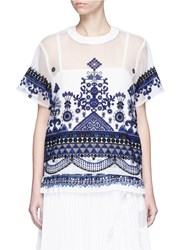 Sacai Embroidered Tribal Lace Organdy Top White