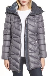 Marc New York Faux Fur Trim Puffer Jacket Metal