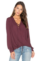 Krisa Lace Up Surplice Blouse Purple