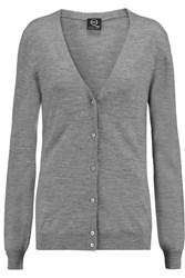Mcq By Alexander Mcqueen Zip Trimmed Wool Cardigan Gray