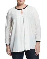 Vince Camuto Front Pleat Contrast Trim Blouse New Ivory