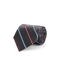 Fairfax Striped Silk Satin Necktie Gray