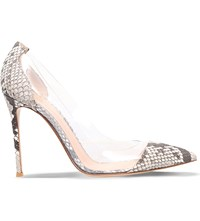Gianvito Rossi Calabria Leather Court Shoes Taupe Comb