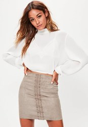 Missguided Grey Faux Suede Lace Detail Mini Skirt