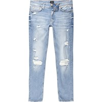 River Island Light Blue Wash Sid Distressed Skinny Jeans