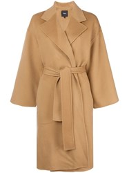 Theory Belted Oversized Coat Brown