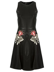 Talie Nk Leather Embroidered Dress Black