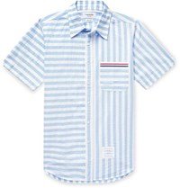 Thom Browne Striped Cotton Seersucker Shirt Blue