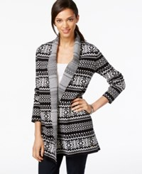 Tommy Hilfiger Open Front Fairisle Printed Cardigan Black
