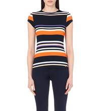 Ted Baker Gelise Striped Cotton Jersey T Shirt Navy