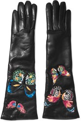Valentino Butterfly Appliqued Leather Gloves Black