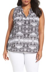 Sejour Plus Size Women's Tie Neck Shell Black Print