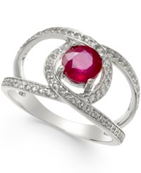 Macy's Ruby 1 1 4 Ct. T.W. And White Sapphire 3 4 Ct. T.W. Openwork Ring In Sterling Silver