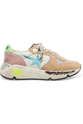 Golden Goose Running Sole Distressed Leather White