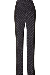Stella Mccartney Printed Silk Crepe De Chine Straight Leg Pants Navy