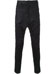 Julius Drop Crotch Coated Jeans Black