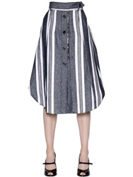 Sportmax Striped Cotton And Linen Denim Skirt