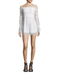 Kendall Kylie Off The Shoulder Lace Jumpsuit Bright White Black