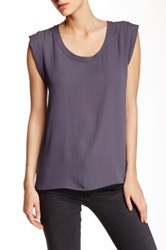 Pleione Pleated Back Woven Tee Gray