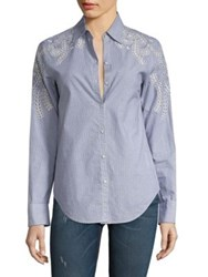 Rag And Bone Sahara Striped Eyelet Shirt Blue Grey