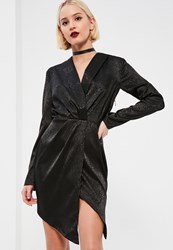 Missguided Black Embossed Leopard Wrap Shift Dress