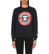 Aape By A Bathing Ape Logo Print Cotton Jersey Sweatshirt Navy