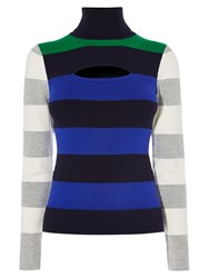 Karen Millen Colourblock Stripe Turtleneck Multicolour