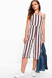Boohoo Striped Culotte Style Jumpsuit Ivory