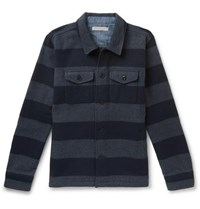 Outerknown Highland Blanket Striped Jacquard Overshirt Blue