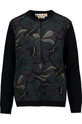 Marni Printed Scuba Paneled Wool Blend Cardigan Black