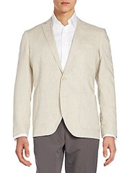 Saks Fifth Avenue Black Slim Fit Cotton And Linen Blend Blazer Tan