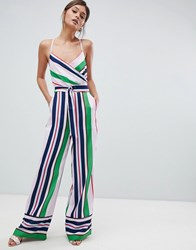 Ted Baker Strappy Wrap Front Jumpsuit In Bay Of Honour Stripe Pl Pink Multi