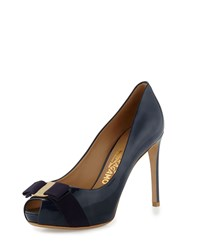 Plum Patent Peep Toe Bow Pump Oxford Blue Salvatore Ferragamo