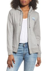 Patagonia Shop Sticker Zip Hoodie Feather Grey W Viking Blue