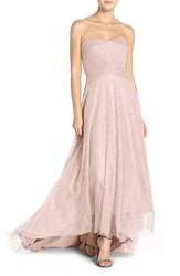 Women's Monique Lhuillier Bridesmaids Pleat Tulle Strapless Gown Rose