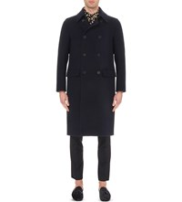 Burberry Double Breasted Wool Trench Coat Ink