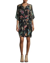 Johnny Was Betty Button Front Floral Print Dress Multi Print A