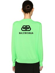 Balenciaga Intarsia Logo Knit Wool Sweater Fluo Green