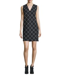 Rag And Bone Phoebe V Neck Windowpane Shift Dress Black White Black White