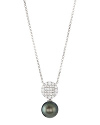 Belpearl 18K White Gold Stationary Tahitian Pearl Pendant Necklace W Mixed Cut Diamonds
