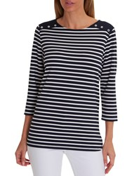 Betty Barclay Harbour Striped Top Dark Blue White
